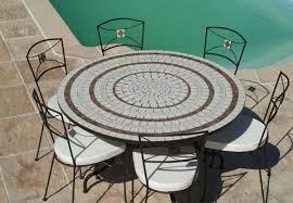 table ronde mosaique fer forge table jardin mosaique ronde 150cm blanc 3 cercles argile cuite