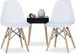 relaxdays design stuhl retro arvid mit polster 2er set weiß esszimmerstuhl schale modern hxbxt 82 x 47 x 55 cm white