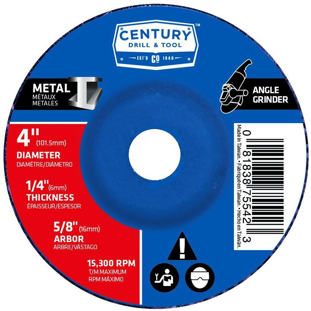 "Century Tool Type 27 Metal Grinding Wheel - 1/4"" X 4"""