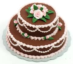 Minature Double Layer Chocolate Cake w pink roses