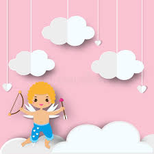 Download Cute Cupid Boy With Arrows Standing On Clouds In Heaven Background Paper Cut