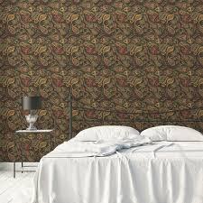 edle oliv grüne designer tapete grand paisley mit großem dekorativem blatt muster angepasst an farrow and wandfarbe