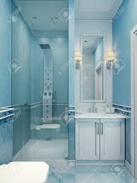 gestaltung modernen blauen bad die kombination aus kalten farben weiß und blau brausebatterie mit modern mit einer glastür aufgewertet 3d