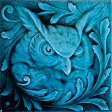 Pewabic Pottery Tiles Detroit by Relief Tile With Translucent Glazes Depicting An Owl American