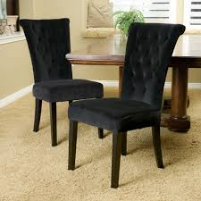 Set Of 2) Rolled-Top Backrest Black Tufted Velvet Fabric Dining ... Ding Chair Black Leather Kitchen Chairs Buy Fabric White And Room Sets Amazoncom Set Of 2 Modern Upholstered Naples Grey Vintage Pack Two Modish Synnes Black Rouse Home Ashford X Canterbury Lvet Fabric Ding Room Chairs Scroll Top High Back Reed Farmhouse Bri Metal Frame With Arms Colt Low Back Armchair O G Studio 4 Matching Satina With Stud Detail 82 Off Macys Patterned