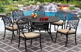 Cast Aluminum Patio Furniture With Sunbrella Cushions by Elisabeth Cast Aluminum Outdoor Patio 7pc Set 60 Inch Round Dining