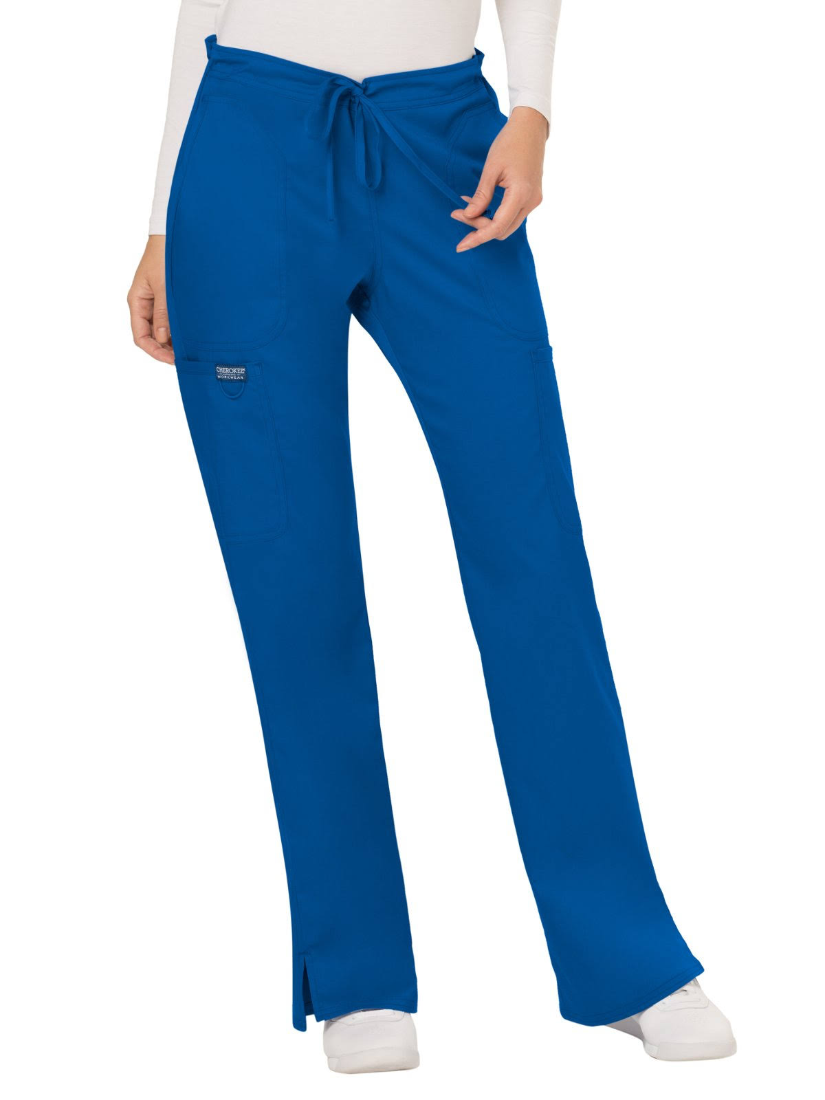 Cherokee Women's Workwear Revolution Drawstring Cargo Scrub Pant - Royal