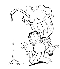 Garfield With Giant Ice Cream Cup Coloring Page