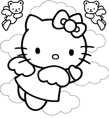 Coloring Pages Printable Cute Nice Kid Book Hello Kitty Disney Cartoon Inspiring Line Black Uncolor