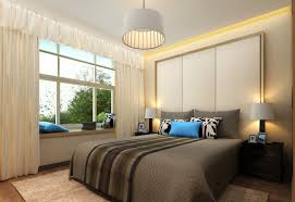 small tropical bedroom design with futurisitc recessed ceiling