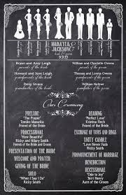 Chalkboard Wedding Programs Black And White Ceremony Party Silhouette Custom