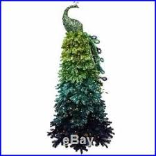 NEW 7 Ombre Peacock Christmas Tree Blues Greens 350 Clear Lights