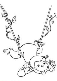 Curious George Hanging On Floating Tree Root Coloring Page