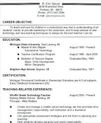 Objective For Resume Teacher Career Example Sample Assistant