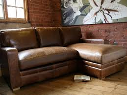 Shabby Chic Brown Leather Sectional Sofa With Chaise On Unstained Woooden Harwood Floor Also