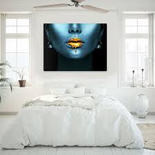 wandmotiv24 leinwandbild gold collection querformat frau in blau goldene lippen m0169