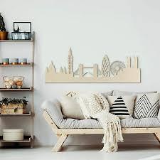 holzkunst pappel furnier skyline wandbild wanddeko