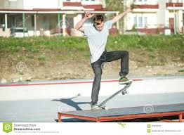 100 The House Skate Park A Young Guy Slides On A Board In A Manual On A