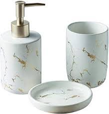 füllemore keramik bad accessoires set luxuriös marmor optik 3 teiliges badezimmer zubehörset aus seifenspender seifenschale zahnputzbecher weiß