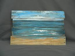 Handpainted Beach Scene Seascape Horizon Ocean And Sky Distressed Reclaimed Wood Pallet