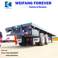 China Hot Sales 50t 3 Axles 40 Feet Container Flat Bed Truck Semi ...