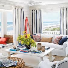 Blue Vertical Striped Curtains by 22 Cottage Decorating Ideas Coastal Living