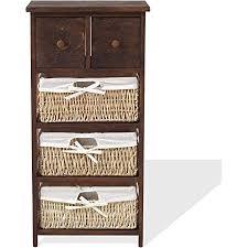 mobili schrank im rustikalen stil badezimmerschrank mit 2 schubladen und 3 weidenkörben holz braun im country stil badezimmer eingang
