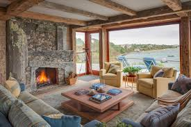Stack Stone Fireplace Living Room Rustic With Exposed Wood Ceiling Drift
