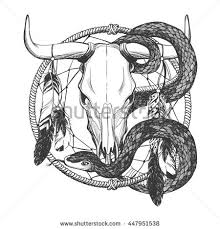 Bull Skull With Feathers Snake And Dreamcatcher Native American Indian Talisman Vector Hand