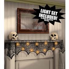 Halloween Fireplace Mantel Scarf by Spider Web Black Lace Door Window Curtains 188cmx90cm Halloween