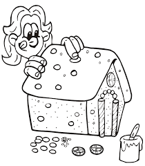 Christmas Coloring Page Decorating Gingerbread House