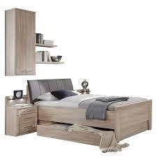 wiemann meran komfortbett mit polster kopfteil nachtschränken mit paneel in eiche sägerau nachbildung liegefläche und beimöbel wählbar