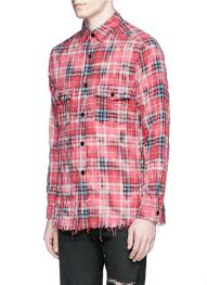 saint laurent check distressed flannel shirt in red for men lyst