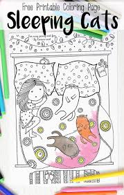Sleeping Cats Coloring Page