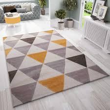 teppich wohnzimmer schlafzimmer flur teppich dreiecksmuster gelb vimoda homestyle