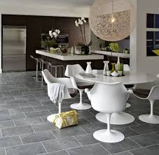 Grey Limestone Floor Tiles For Minimalist Dining Room And Kitchen