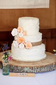 Rustic Burlap Wedding Cake And Wood Centerpiece