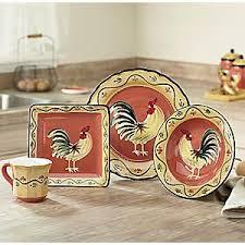16 Piece Modern Rooster Dinnerware Set Kitchen Decor