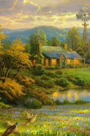 Country Home Lake Painting IPhone 6 Wallpaper