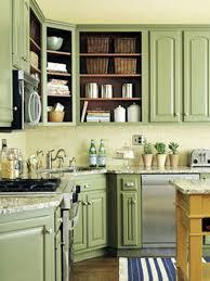 Corner Kitchen Cabinet Decorating Ideas by Kitchen Interesting Kitchen Decoration With Light Green Kitchen