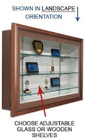 SwingFrame Designer Wood Wall Mounted Display Case With Shelves 3 Deep