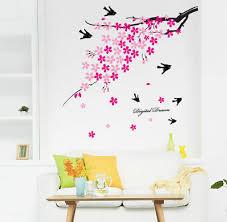 wandtattoos wandbilder schlafzimmer wandtattoo rosa blumen