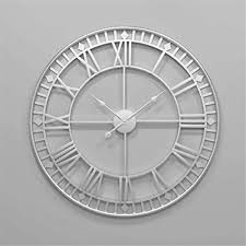 wanduhr wall clocks wanduhren 80cm große metall dekorative römische ziffern 3d skelett stille uhr silber für küche schlafzimmer garten wohnzimmer