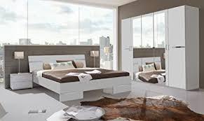 lifestyle4living schlafzimmer komplett set schlafzimmer set alpinweiß chrom aufleistungen schrank b 225 cm futonbett 180 x 200 cm 2