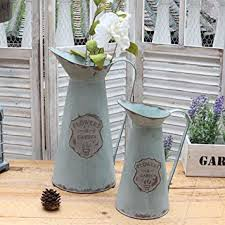 APSOONSELL Metal Flower Vase Decorative Tin Water Pitcher Style Rustic Garden Decor S