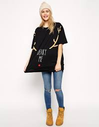 asos tunic t shirt with christmas oh deer deery me print in white