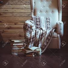 100 Rocking Chair With Books Stack Of Warm Plaid On Stock Photo Picture And