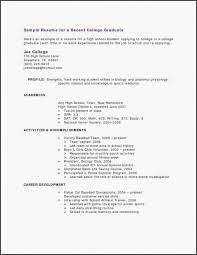 High Profile Resume Samples 15 New College Graduate