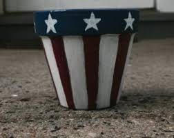 Rustic Star Spangled Banner Hand Painted Flower Pots