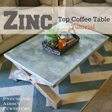 Zinc Coffee Table Pneumatic Addict Top Tutorial Pottery Barn